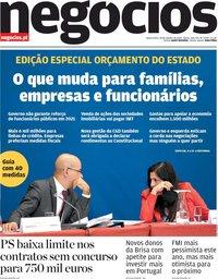 capa Jornal de Negócios de 14 outubro 2020