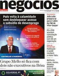 capa Jornal de Negócios de 15 outubro 2020