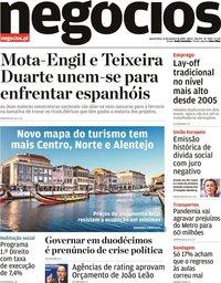 capa Jornal de Negócios de 21 outubro 2020