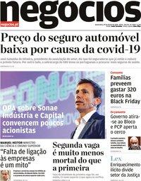 capa Jornal de Negócios de 29 outubro 2020