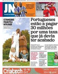 capa Jornal de Notícias de 5 outubro 2020