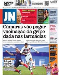 capa Jornal de Notícias de 12 outubro 2020