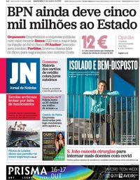 capa Jornal de Notícias de 14 outubro 2020