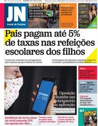 capa Jornal de Notícias de 16 outubro 2020