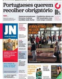 capa Jornal de Notícias de 29 outubro 2020
