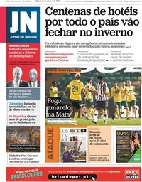 capa Jornal de Notícias de 31 outubro 2020