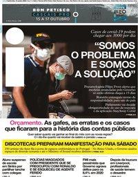 capa Jornal i de 15 outubro 2020
