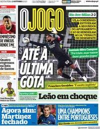 capa Jornal O Jogo de 2 outubro 2020
