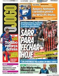 capa Jornal O Jogo de 6 outubro 2020