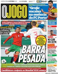 capa Jornal O Jogo de 8 outubro 2020