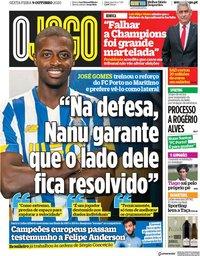 capa Jornal O Jogo de 9 outubro 2020