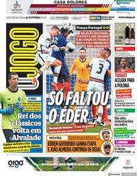 capa Jornal O Jogo de 12 outubro 2020
