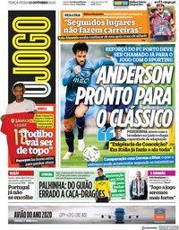 capa Jornal O Jogo de 13 outubro 2020