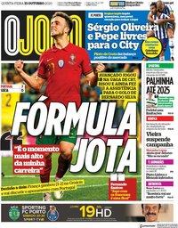 capa Jornal O Jogo de 15 outubro 2020