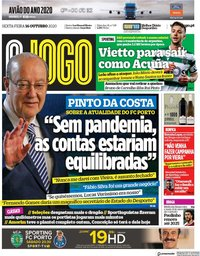 capa Jornal O Jogo de 16 outubro 2020