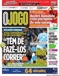 capa Jornal O Jogo de 20 outubro 2020