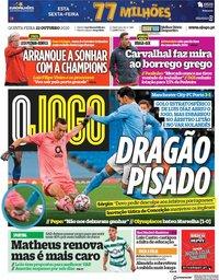 capa Jornal O Jogo de 22 outubro 2020