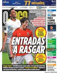 capa Jornal O Jogo de 23 outubro 2020