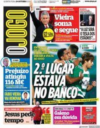 capa Jornal O Jogo de 29 outubro 2020