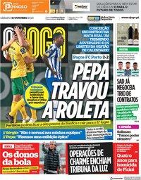 capa Jornal O Jogo de 31 outubro 2020
