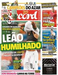 capa Jornal Record de 2 outubro 2020