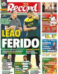 capa Jornal Record de 3 outubro 2020