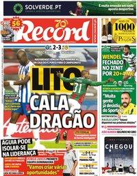 capa Jornal Record de 4 outubro 2020