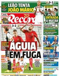 capa Jornal Record de 5 outubro 2020