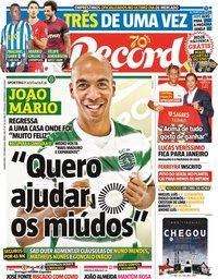 capa Jornal Record de 7 outubro 2020