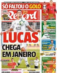 capa Jornal Record de 8 outubro 2020