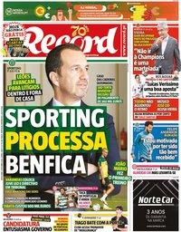 capa Jornal Record de 9 outubro 2020