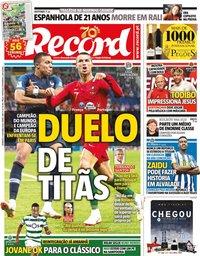 capa Jornal Record de 11 outubro 2020