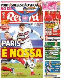 capa Jornal Record de 12 outubro 2020