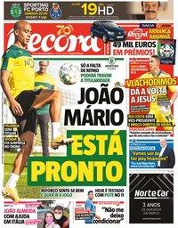 capa Jornal Record de 16 outubro 2020