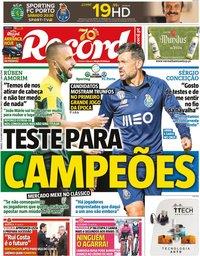 capa Jornal Record de 17 outubro 2020