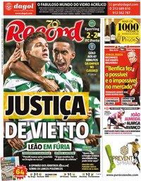 capa Jornal Record de 18 outubro 2020