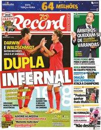 capa Jornal Record de 20 outubro 2020