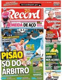 capa Jornal Record de 22 outubro 2020