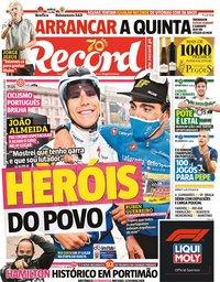 capa Jornal Record de 26 outubro 2020