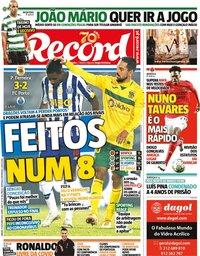 capa Jornal Record de 31 outubro 2020