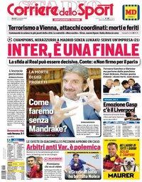 capa Corriere dello Sport de 3 novembro 2020