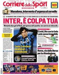 capa Corriere dello Sport de 4 novembro 2020