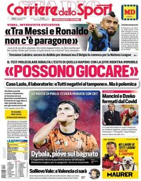 capa Corriere dello Sport de 7 novembro 2020
