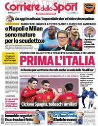 capa Corriere dello Sport de 18 novembro 2020