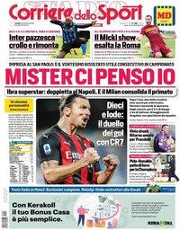 capa Corriere dello Sport de 23 novembro 2020