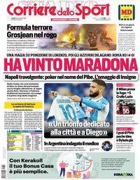 capa Corriere dello Sport de 30 novembro 2020