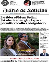 capa Diário de Notícias de 2 novembro 2020