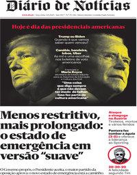 capa Diário de Notícias de 3 novembro 2020