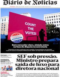 capa Diário de Notícias de 5 novembro 2020