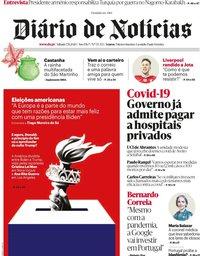 capa Diário de Notícias de 7 novembro 2020